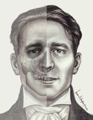 2-D facial reconstruction of Julien Dubuque by Karen T. Taylor.