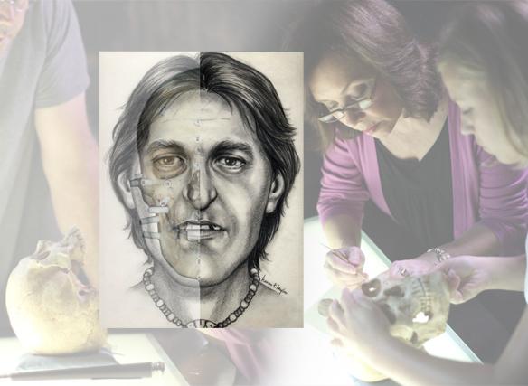 Image of Karen T. Taylor and a 2-d facial reconstruction