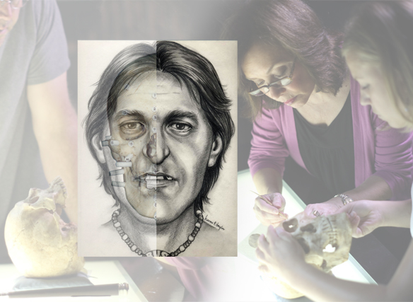 Image of Karen T. Taylor and a 2-d facial reconstruction