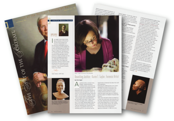 image of American Portrait Society magazine article about Karen T. Taylor's work