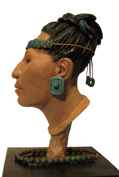 Karen T. Taylors sculpture of the Mayan Red Queen of Palenque for the Discovery Channel