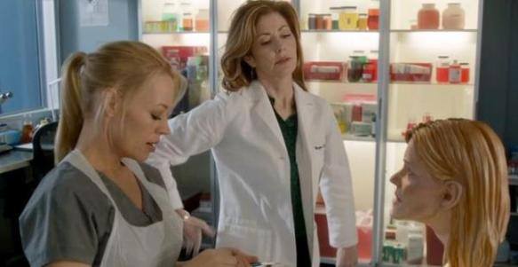 image from the show body of proof showing karen t. taylor's facial reconstruction prop