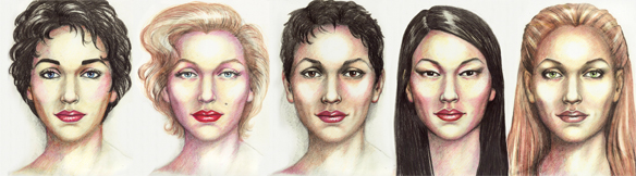 generalized sketches of the faces of five women considered to be beautiful by Karen T. Taylor