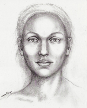 Sketch I prepared like a police composite sketch, based on the verbal description of Dr. Nancy Etcoff