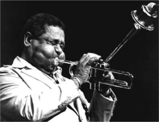 photo of trumpet player Dizzy Gillespie which shows the risorius muscle in his cheek