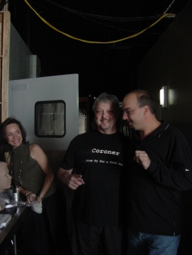 Karen T. Taylor, Dr. Telgenhoff and Anthony Zuiker on the set of CSI;