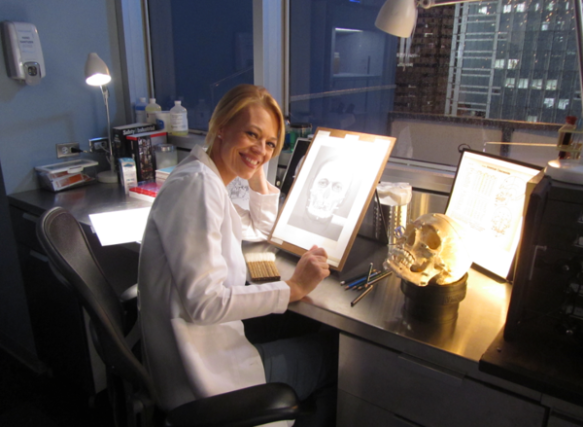 image of actress Jeri ryan with a facial reconstruction done as a set prop by Karen T. Taylor for the show Body of Proof