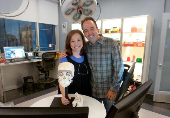 Forensic artist Karen T. Taylor on the set of Body of Proof with writer Corey Miller