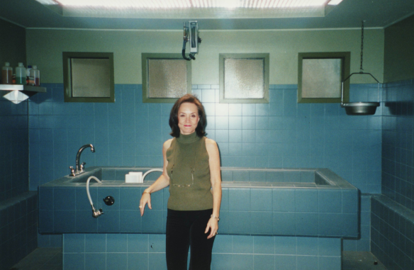 Karen T. Taylor in the morgue area of the CSI: set