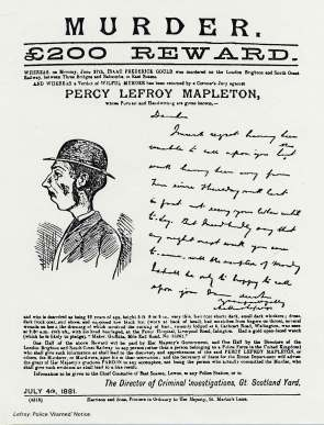 Wanted poster for Percy Lefroy Mapleton