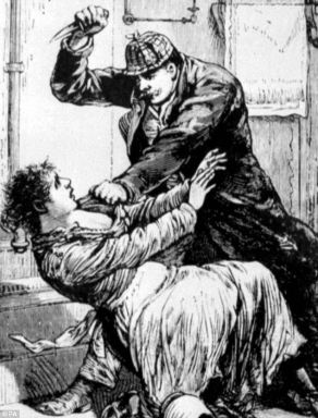 Illustration of Jack the Ripper attacking a woman in the street