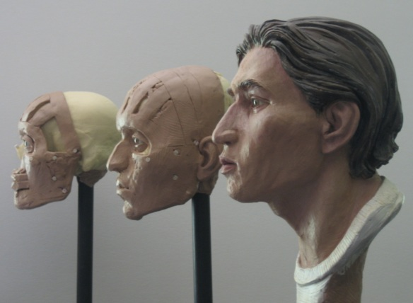 Three of the steps of the prop facial reconstructions by Karen T. Taylor for CSI:NY