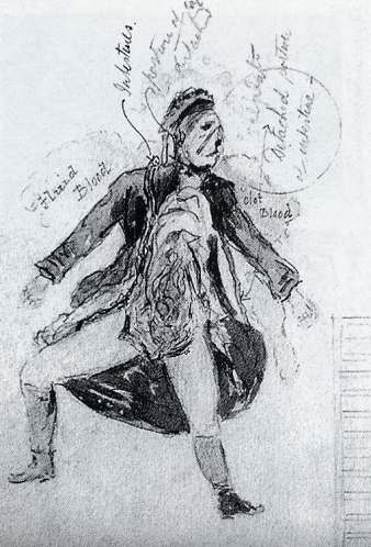 Postmortem drawing of Catherine Eddowes at the crime scene