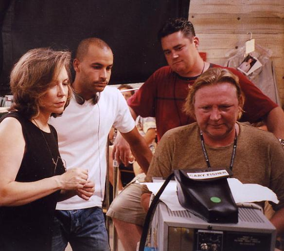 Artist Karen T. Taylor and writer Eli Talbert reviewing some of the shots of the facial reconstruction process for the show CSI:NY