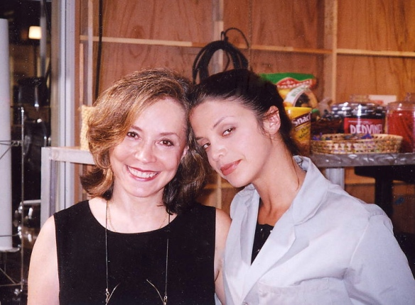 Karen T. Taylor with lovely actress Vanessa Ferlito on a break from filming