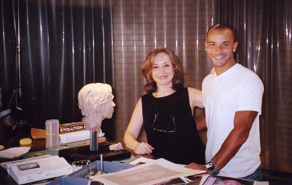 Artist Karen T.Taylor with writer Eli Talbert on the set of CSI:NY