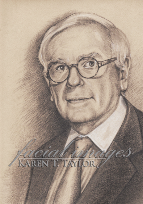 Pencil sketch of Dominick Dunne by Karen T. Taylor