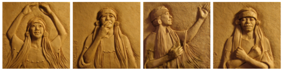 "Bas relief panels that surrounded the base showing 4 postures of the Lord's Prayer: ""Our Father who art in heaven"", ""Hallowed be thy name"", ""Forever and ever"", ""Amen"""