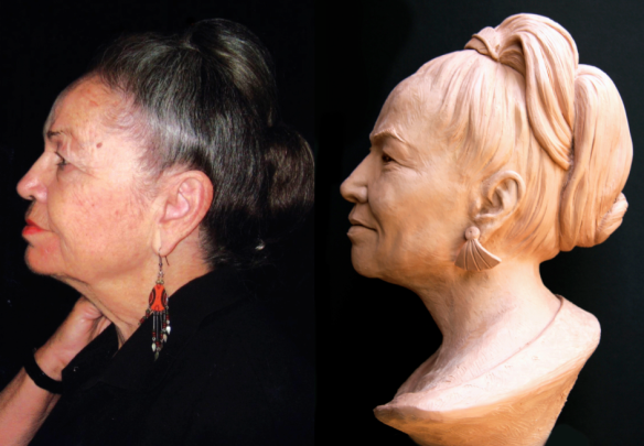 Profile views of Barbara Benton and her sculpted portrait