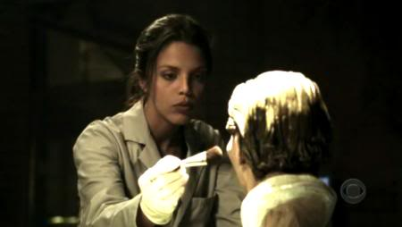 "Actress Vanessa Ferlito doing ""work"" on the prop facial reconstruction by Karen T. Taylor"